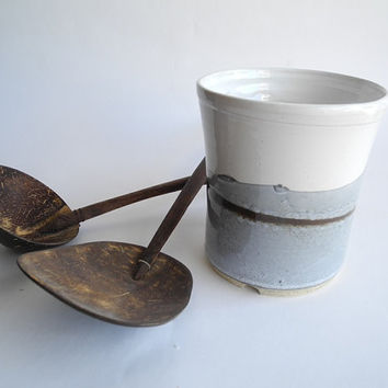 Cutlery Drainer Utensil Holder in White Grey and Brown Stoneware