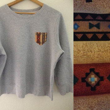 Tribal pocket Grey Crewneck  by FauxFashions on Etsy