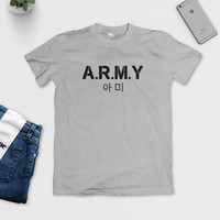 BTS A.R.M.Y T-Shirt - BTS army Tee - Kpop Band - B.T.S - S M L XL - Black, White or Grey