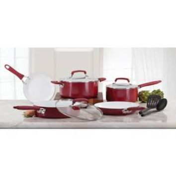WearEver Pure Living Ceramic C943SA Dishwasher Safe Cookware 10 Piece Set Red
