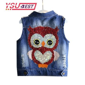 Trendy 2018 Spring Owl Denim Vest Tide Embroidery Children Vest Female Baby Sequins Owl Denim Waistcoat Vest Shawl Girls Clothing Coat AT_94_13