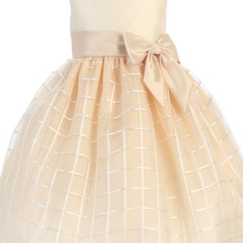 Champagne Shantung & Embroidered Organza Overlay Easter Spring Dress (Baby 6 Months - Girls Size 12)