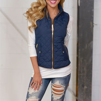 More To Explore Quilted Puffer Vest - Navy