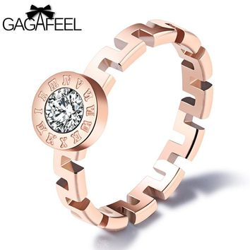 GAGAFEEL Trendy 3MM Ring Roman Numerals Rings For Women Stainless Steel Jewelry Clear CZ Zircon Finger Accessories Dropshipping