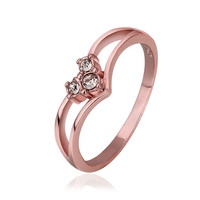 Crystal Split Band Prong 18K Rose Gold Plated Ring