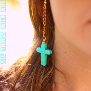 Turquoise Stone Cross Earrings with Dangle Chain