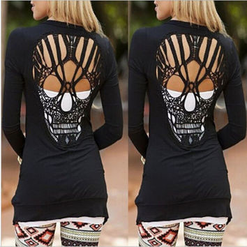 New Women Cardigan Coat Long Sleeve Skull Backless Casual Loose Sweater Jacket