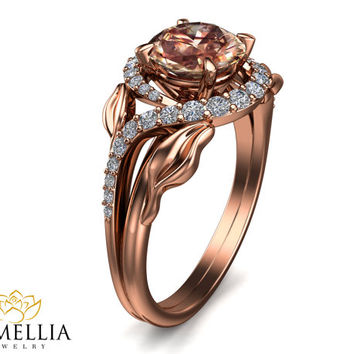 14K Rose Gold Morganite Ring,Nature Engagement ring, Leaf Ring,Art Deco Ring,Promise Ring,Unique Engagment Ring,Camellia Jewelry.