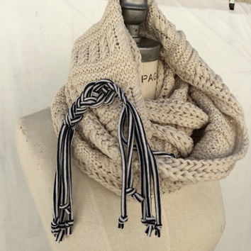 Hand Knitted Scarf Chunky Infinity Scarf  Christmas Stocking Stuffer Winter Scarf Thick scarf - By PiYOYO