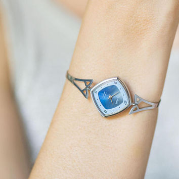 Woman's watch bracelet rhombus Glory, lady wristwatch modern, lady watch bracelet, blue silver woman watch gift, cocktail watch for girl