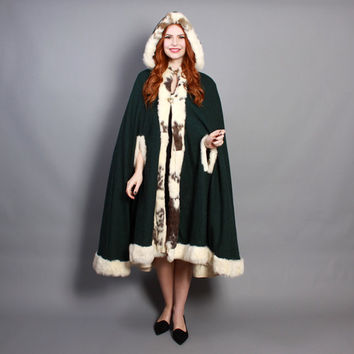 60s FUR Trim Wool CAPE / Green Wool with 2-Tone Rabbit Fur HOOD & Trim