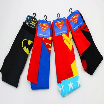 Cartoon DC Wonder Woman cloak Socks Classic fashion funny Men's deportivo sock Superman batman Unique Spring Summer socks sokken