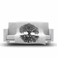 "Hippie Polar Bear ""The Tree of Life"" Black White Fleece Throw Blanket"