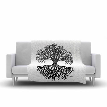 "Adriana De Leon ""The Tree of Life"" Black White Fleece Throw Blanket"