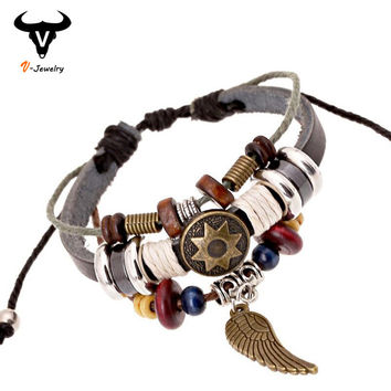 2016 Punk Jewelry Wrap 100% Real Leather Copper Angel Wing pendant Wooden Beads Charm Bracelet & Bangle Wristband Cuff for Women
