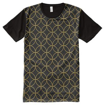 Japanese Traditional Design1 -SHIPPO- Black&Gold All-Over-Print Shirt
