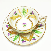 Vintage Bone China Tea Cup, Royal Chelsea, Thistle Pattern, Gold, Wedding Gift, Bridal Shower, 1940s