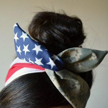 Digital Camo Patriotic Dolly Bow Military American Flag Head Band Hair Bow