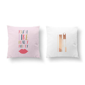 SET of 2 Pillows, Glamour Art, Throw Pillow, Cushion, Gift For Her, Bed Pillow, Stylish Lipstick, You're Like Really Pretty, Gold Pillow