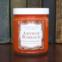 ARTHUR RIMBAUD Candle, 8oz Soy Blend, Scented Candle, Incense & Antique Books, Writers Series, Old Books Scent, Literary Gift