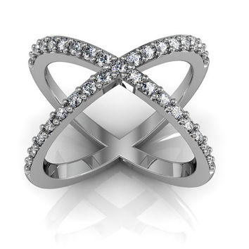 Sterling Silver Cubic Zirconia Criss Cross Ring X Band