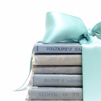 Dusk Blue Books, French Books, French Book Lot, Grey Blue Wedding, Decorative French Books, French Blue Books, Bridal Shower, Beach Wedding