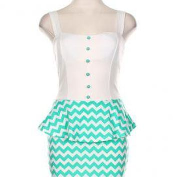 Sweeet & Sassy Chevron Print Bow Back Peplum Dress in Mint | Sincerely Sweet Boutique