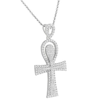 Ankh Cross Pendant Necklace  White Gold On Sterling Silver