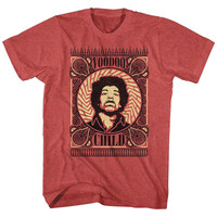 Jimi Hendrix Men's  Voodoo Child Patterns Slim Fit T-shirt Red Heather