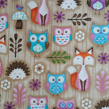 WOODLAND CRITTERS Hedgehog Fox Owl Forest Critters on Tan Cotton HALF Yard Crafts Children Nursery Fun Fabric Creative Genius Projects