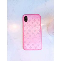 Louis Vuitton LV Fashion Pure Color iPhone Phone Cover Case For iphone 6 6s 6plus 6s-plus 7 7plus 8 8plus X Pink I-OF-SJK