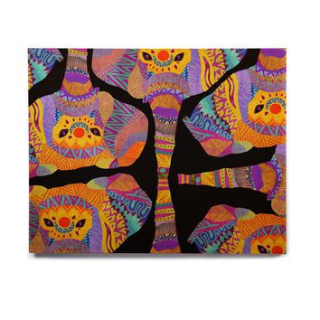 "Pom Graphic Design ""The Elephant In The Room"" Rainbow Tribal Birchwood Wall Art"