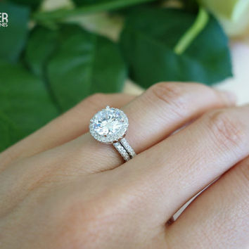 2.25 Ct Round, Halo Gatsby, Wedding Set, Engagement Ring, D Color Flawless Man Made Diamond Simulants, Promise Ring, Bridal, Sterling Silver