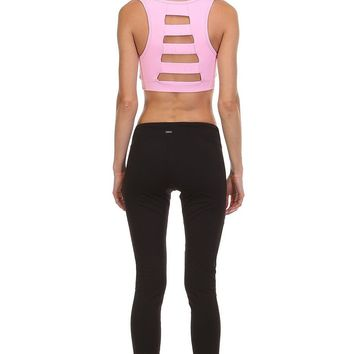 Can't Put It Down Cutout Pink Sports Bra