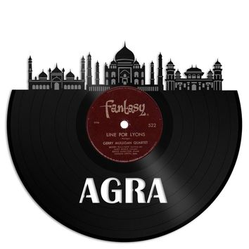 Agra Skyline Agra Wall Art Agra Cityscape Personalized Gift Idea for Men Vinyl Record Skyline Art First date gift Gift for her Custom city