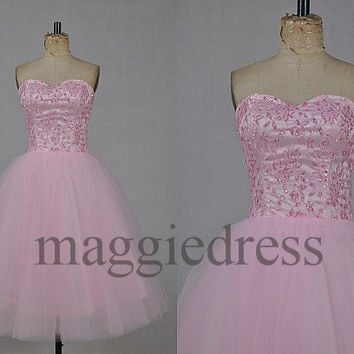 Custom Pink Beaded Short Prom Dresess Bridesmaid Dresses Party Dress Evening Dresees Party Dresses Wedding Party Dress Homecoming Dresses