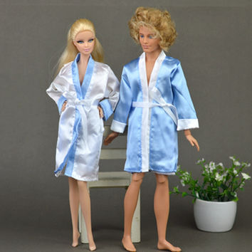 2pcs set Bedroom Pajamas Robe Nighty Bathrobe Clothes For Barbie Dolls Robe & Shorts For Ken BJD Doll Child Kids Best toys gift