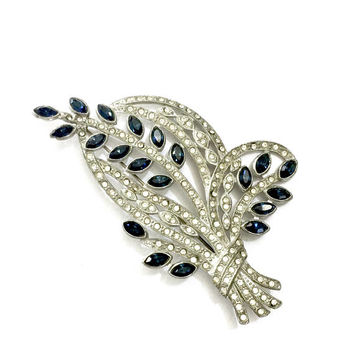 Art Deco Nouveau Floral Brooch, Huge Statement Brooch, Pot Metal, Sapphire Blue Marquise and Ice Chaton Rhinestones, Vintage, Book Piece