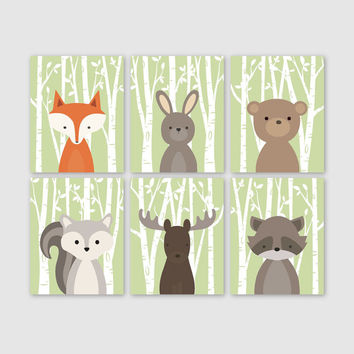 Baby Boy Nursery Art, Woodland Nursery Prints, Woodland Nursery Decor, Boy Bedroom Art, Set of 6 Fox Rabbit Bear Squirrel Moose Raccoon