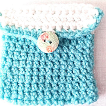 Crocheted white and teal pouch purse money make up jewelry phone anniversary gift custom made