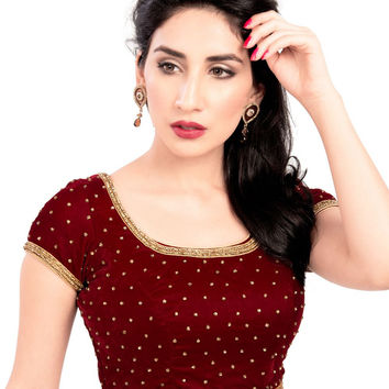Classic Maroon Velvet Party-wear Saree Blouse KP-87