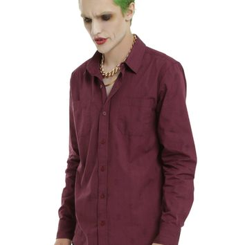 Licensed cool Suicide Squad Joker Cosplay The Bang Purple Long Sleeve Shirt DC  Men XL