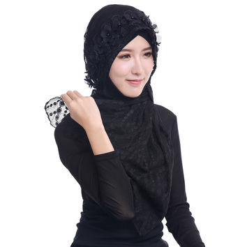 Women Lace Muslim Hijab Islamic Outside the Phi Cap Flower Beads Turban Headscarf Sheer Arab Headscarf Foulard  SM6