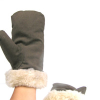 Soviet vintage mittens gloves genuine cheep skin very warm soft fur unisex winter mittens cozy