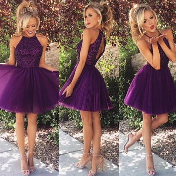 Free Shipping Pretty Halter Purple Keyhole Back Beading Short Prom Dresses Vestido De Festa Girls Party Dress Homecoming Dress