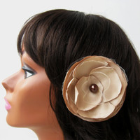 Gold Singed  Flower Hair Clip, Organza and tulle Flower Clip, Fabric Hair Flower