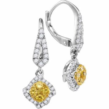 14kt White Gold Women's Round Yellow Diamond Diagonal Square Cluster Dangle Earrings 3-4 Cttw - FREE Shipping (USA/CAN)