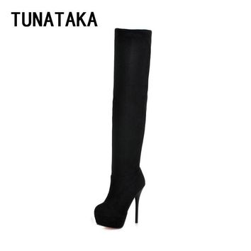 Womens Thigh High Boots Stiletto Heel Sexy Party Over the Knee Boots Platform Heels Black