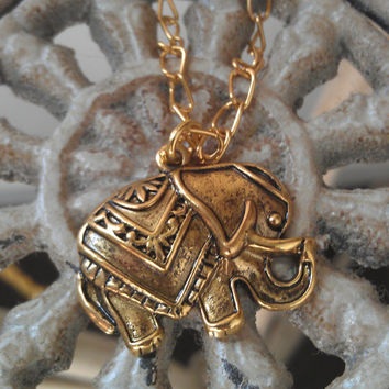 Extra Long Gold Lucky Indian Elephant by allthingswildandfree