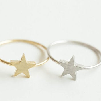 Cute star ring,ring,cute ring couple ring,cute rings,bridesmaid gift,unique ring,sister ring,star rings,gold star ring,cool ring,SKD128